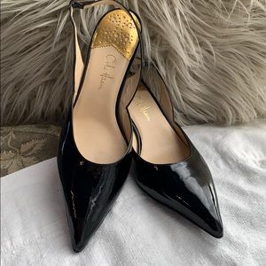 Cole Haan patent leather sling back heels